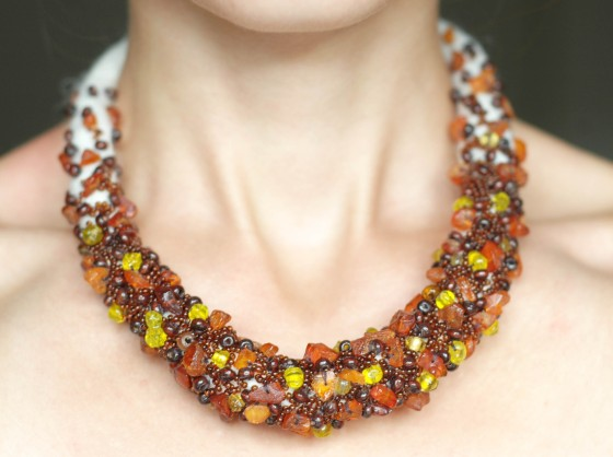 handmade embroidered beaded amber statement tribal necklace