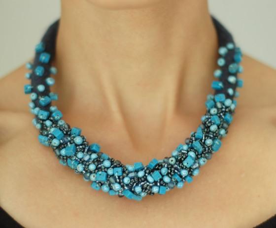 handmade felt beaded turquoise statement necklace