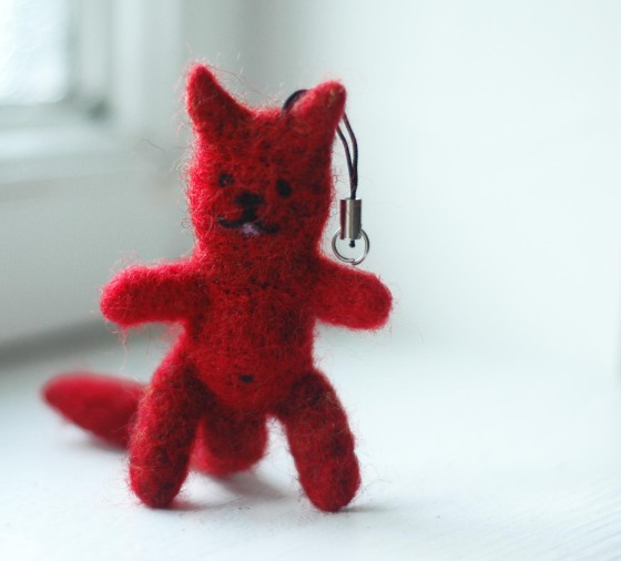 needle felting figures felted cat