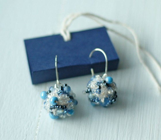 handmade earrings beaded embroidered blue