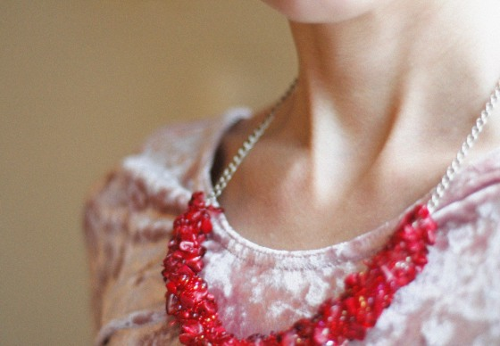 red embroidered necklace valentine''s day gift