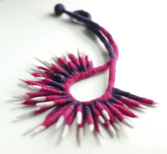 felt necklace pink violet