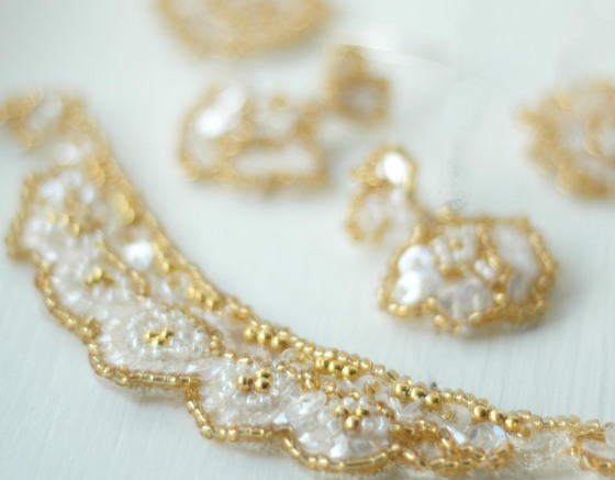 gold beads embroidered lace