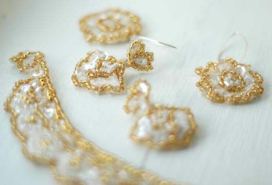 handmade jewellery lace beads gold