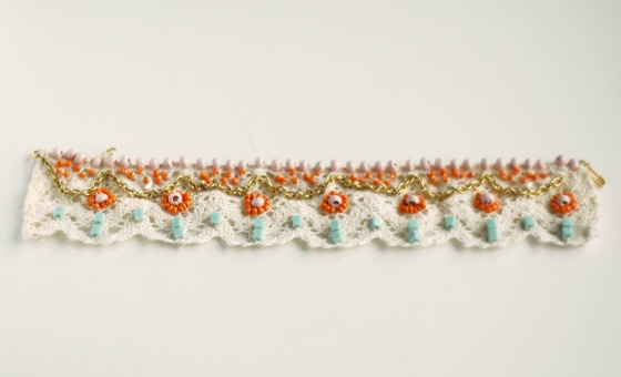 lace bead embroidered bracelet