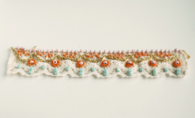 BlackKatKreations: Bead Embroidered Cabochon Cuff Bracelet