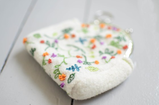 emroidered flower purse