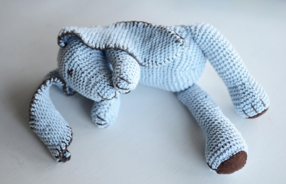 handmade knitted bunny baby toy